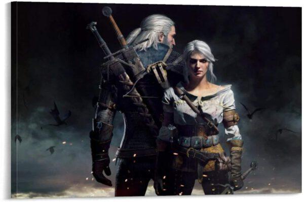 Ciri and Geralt-Póster de lienzo y pared-Varios tamaños